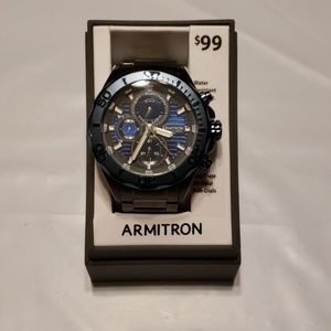 New Mens Armitron Blue and Gunmetal Diver Watch
